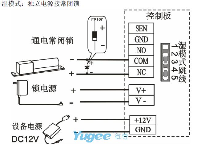 门禁产品安装接线图例(以中控系列产品为例)